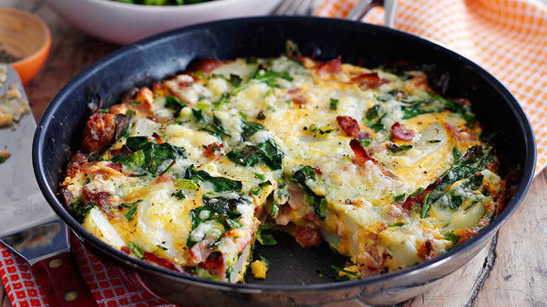 Image: Spinach and bacon fritatta