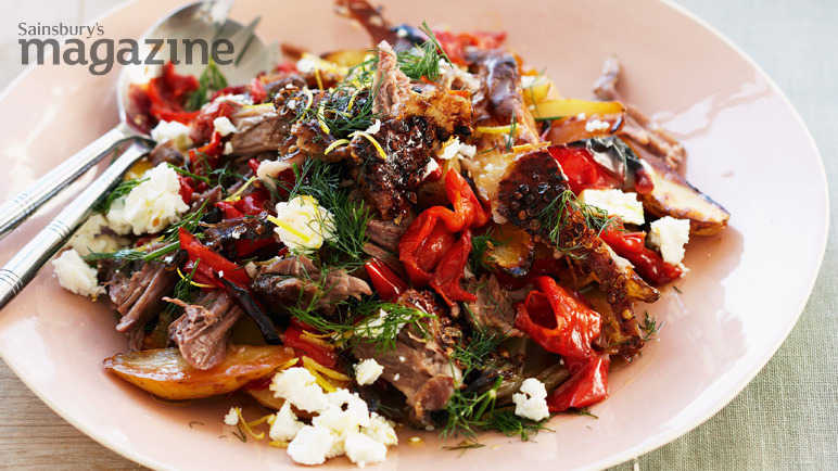 Slow-roast lamb with feta, peppers and dill