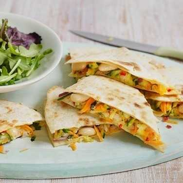 Courgette and white bean quesadilla image