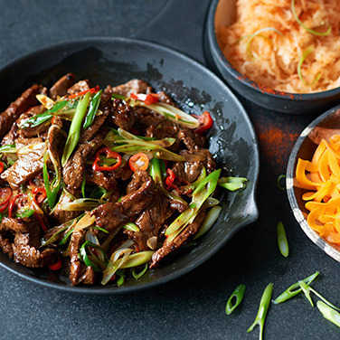 Image: Sticky Korean style beef with rice & kimchi
