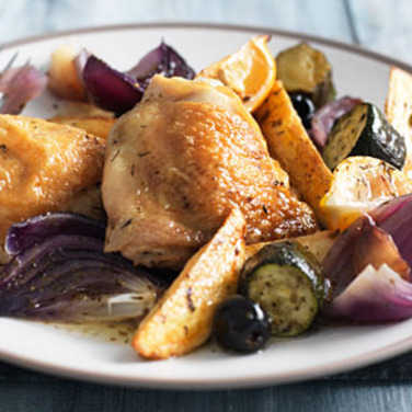 Mediterranean chicken with potato wedges