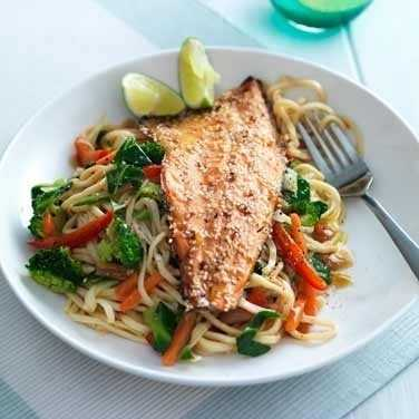 Teriyaki trout with vegetable noodles