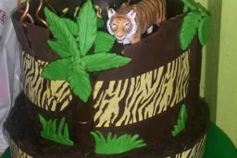 Daughters 7th Birthday Tiger Cake image