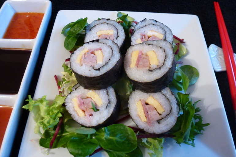 Bacon, sausage and egg sushi image