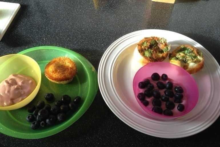 Oven baked egg and spinach muffin with blueberry and cherry yoghurt image