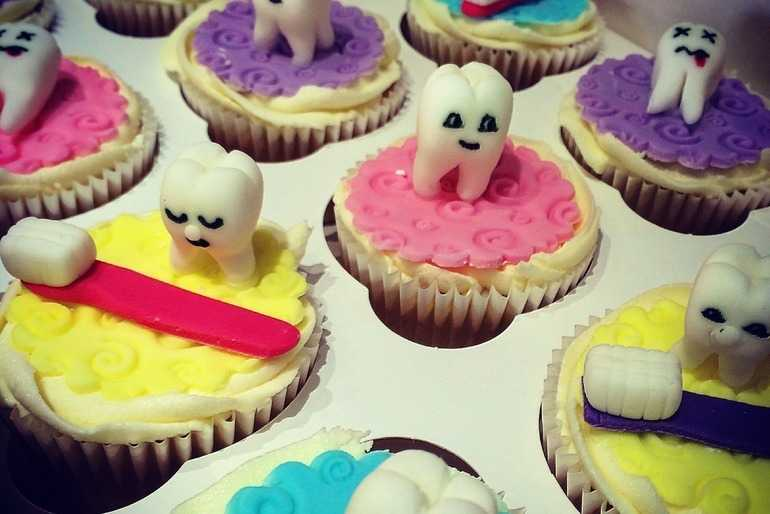 Dental themed cupcakes image