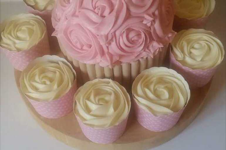 Giant rose cupcake  image