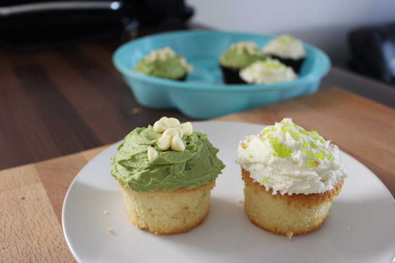 Vanilla white choc chip and  matcha green tea cupcakes! image