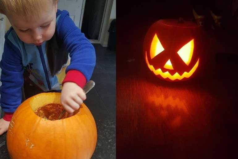Mummy and 2 year old Logans first pumpkin image