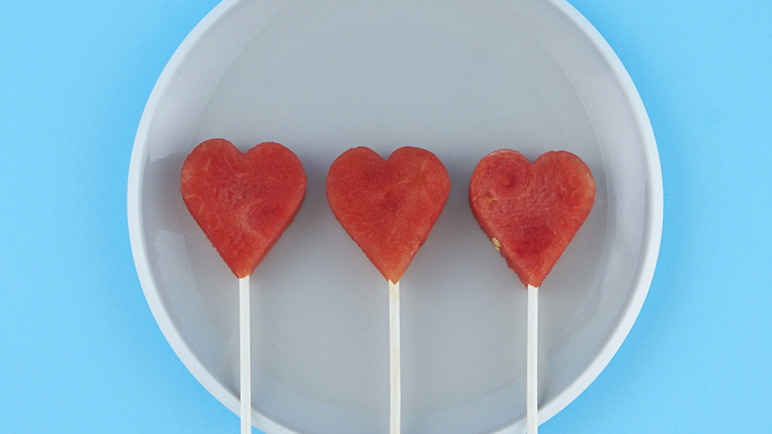 Watermelon heart shaped lollies