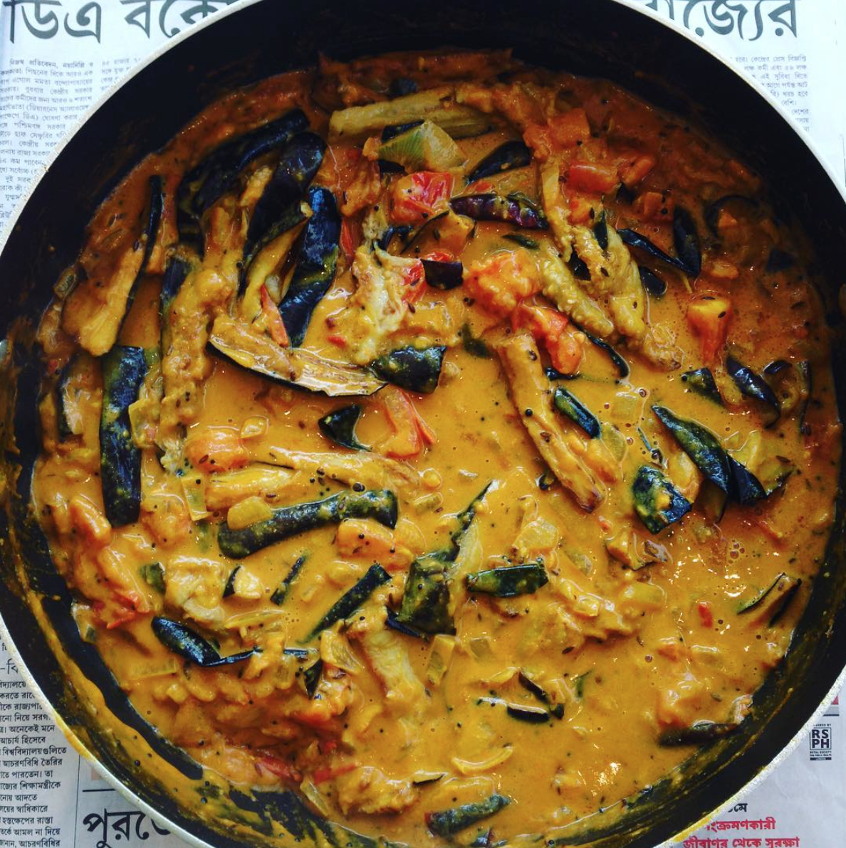 Aubergine and peanut curry