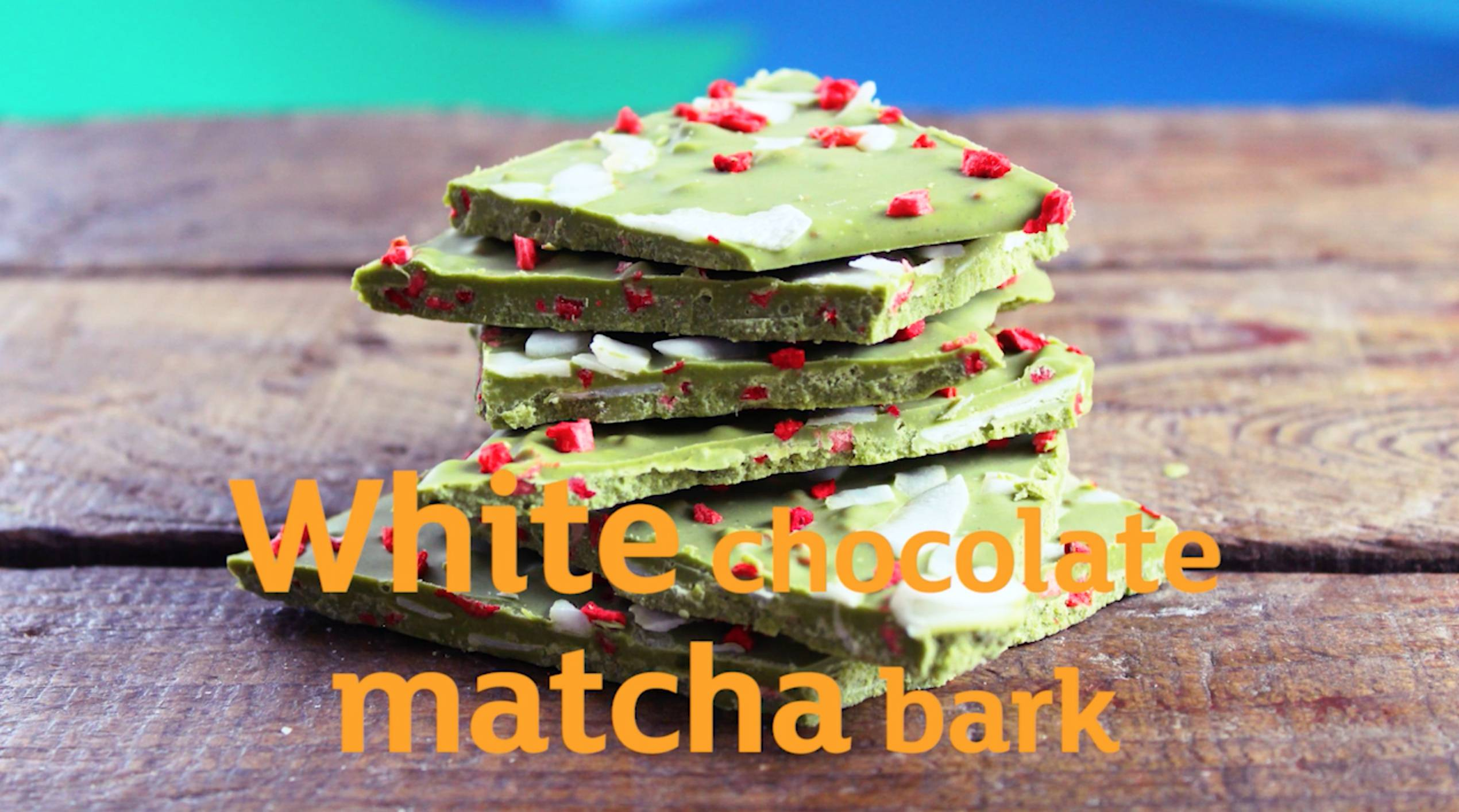 matcha white chocolate bark with raspberry